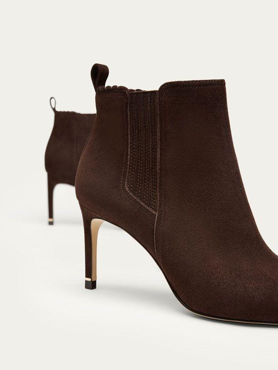 527826178a1 BOTIN DE TACÓN PIEL ANTE MARRÓN de MUJER - Zapatos - Ver todo de Massimo  Dutti