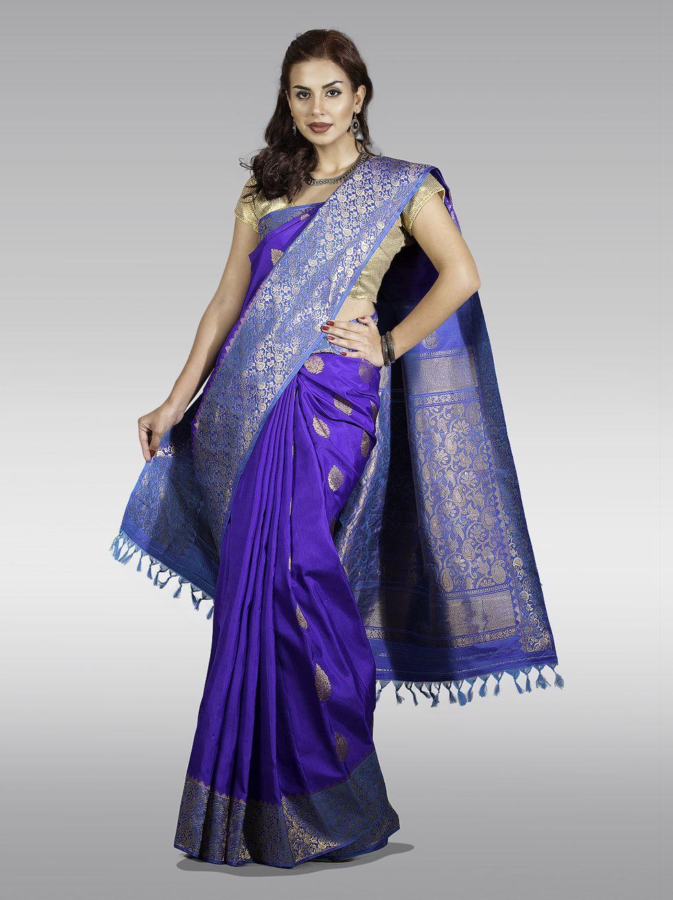 Hannah Matru Border Silver Zari Pure Silk Saree From