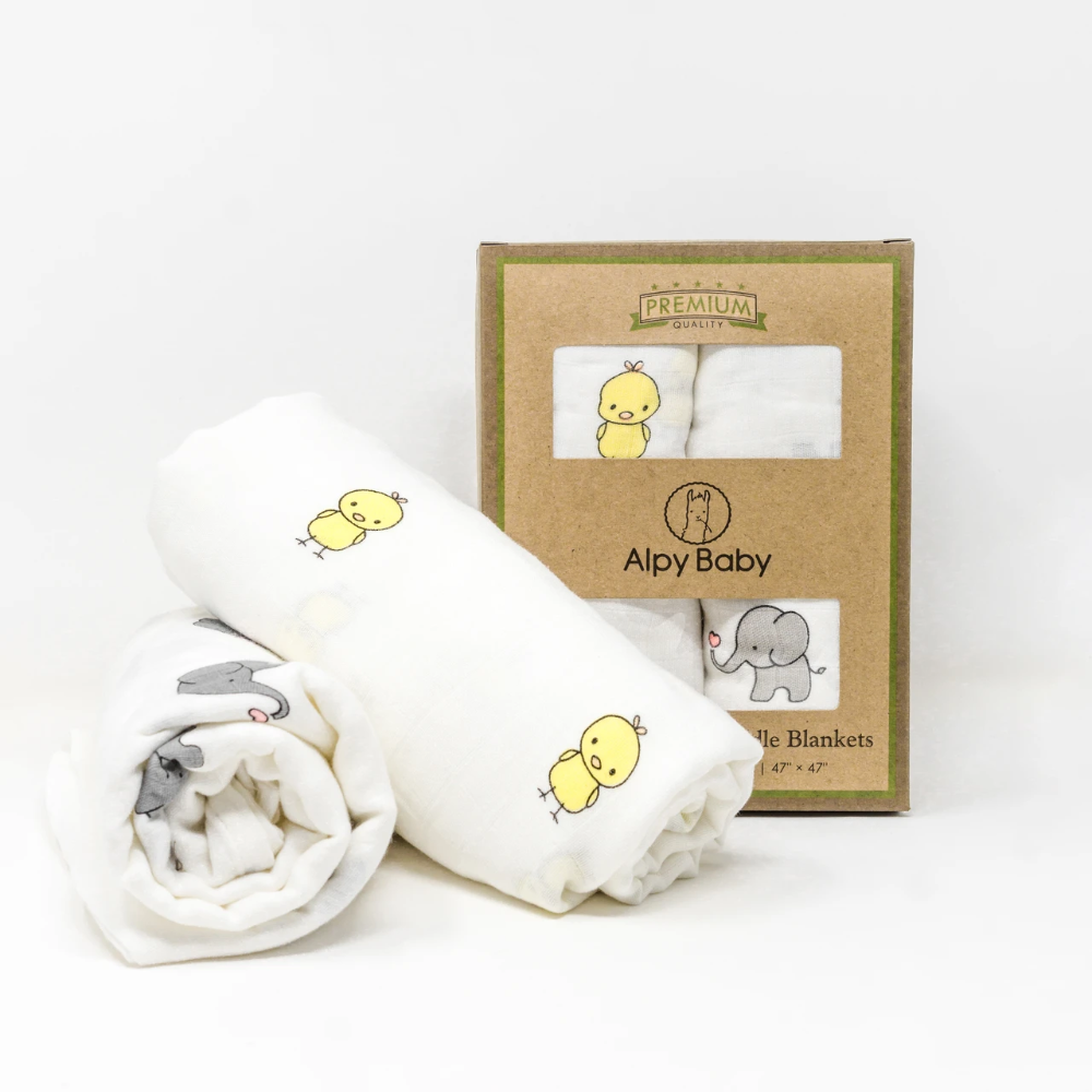 Deluxe Muslin Swaddle Set - Elephant Chick
