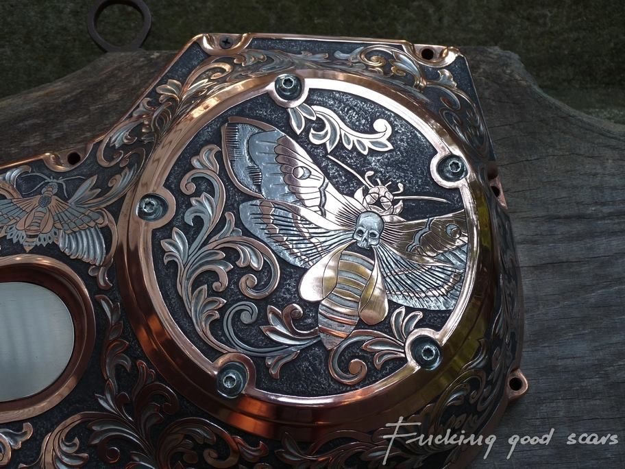 Chopper Primary Cover : Harley davidson hand engraved primary cover anything