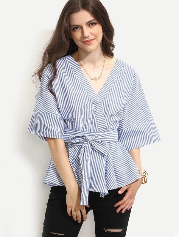 Blusa Listrada Estilo Kimono - Compre Online