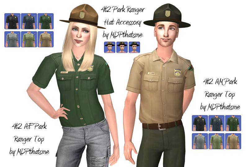 THIS IS FOR SIMS 2! AF and AM Park Ranger tops, plus hat. I had expand the females top because it only covered the ribs. For some reason males got a whole top, but females didn't? They work best with...