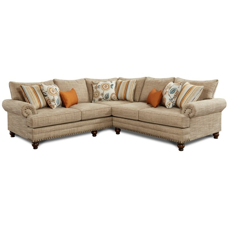 Fusion Hilary Oatmeal Chenille Sectional with Nailhead | Weekends Only Furniture and Mattress  sc 1 st  Pinterest : weekends only sectionals - Sectionals, Sofas & Couches