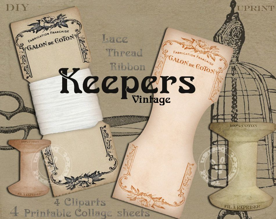 French Vintage Lace Keeper Cliparts For Sewing Storage Digital Collage Sheet Instant Download Papercraft Printables Thread Holder K03 Digital Collage Sheets Collage Sheet Vintage Ribbon