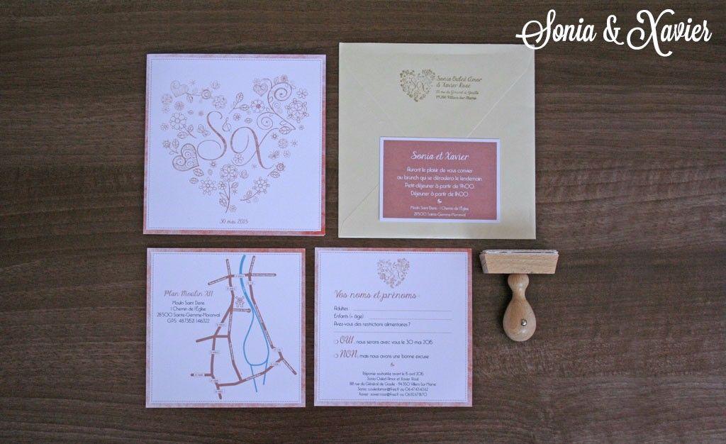 Faire-part sur-mesure et personnalisés de mariage et de naissance par une graphiste illustratrice.