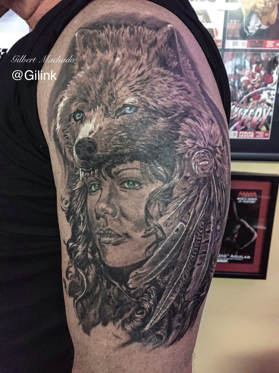 Tattoo Tattoos Black Rose Black And Gray Wolf Head Girl With