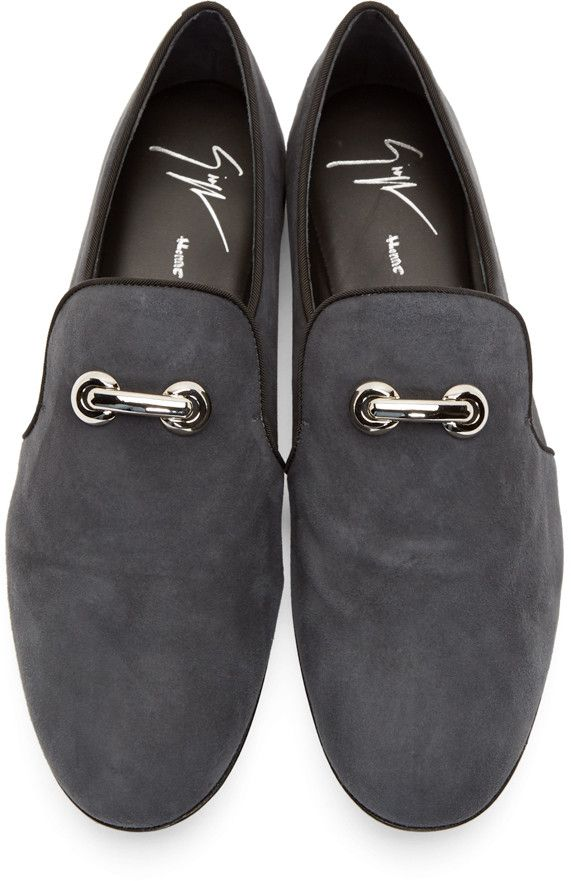 ef4b213b14c7e Giuseppe Zanotti Grey Suede Loafers | Exclusive shoes | Suede ...