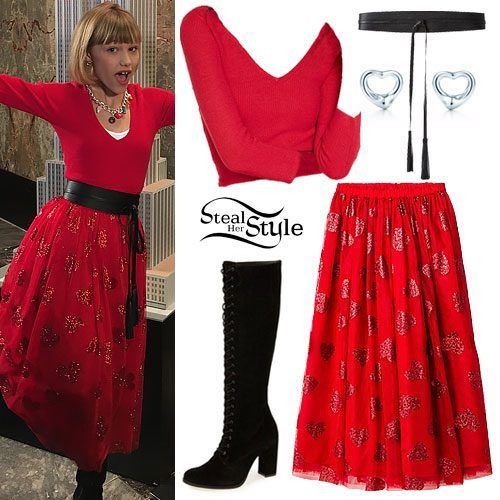 Grace VanderWaal appeared at the Empire State Building Valentine's Day lighting ceremony today wearing the Express Cross Back Tie Sweater ($49.90). Target Cat & Jack Girls' Red Tulle Maxi Skirt with Glitter Hearts ($19.99), Matisse Princely Women's Boots ($210.99), Express Smooth Tassel Obi Belt ($29.90), and Tiffany Elsa Peretti Open Heart Earrings ($225.00).