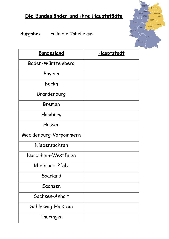 Die Bundeslaender und ihre Hauptstaedte   mit Lösungen ...