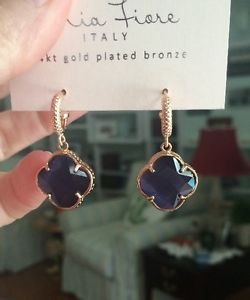 Mia Fiore Dyadema Italy Rose Gold Blue Topaz Drop Earrings NEW