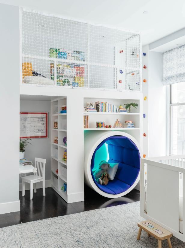 30 Imaginative Kids Playrooms Hgtv In 2020 Kid Room Decor Loft Playroom Kids Room Design