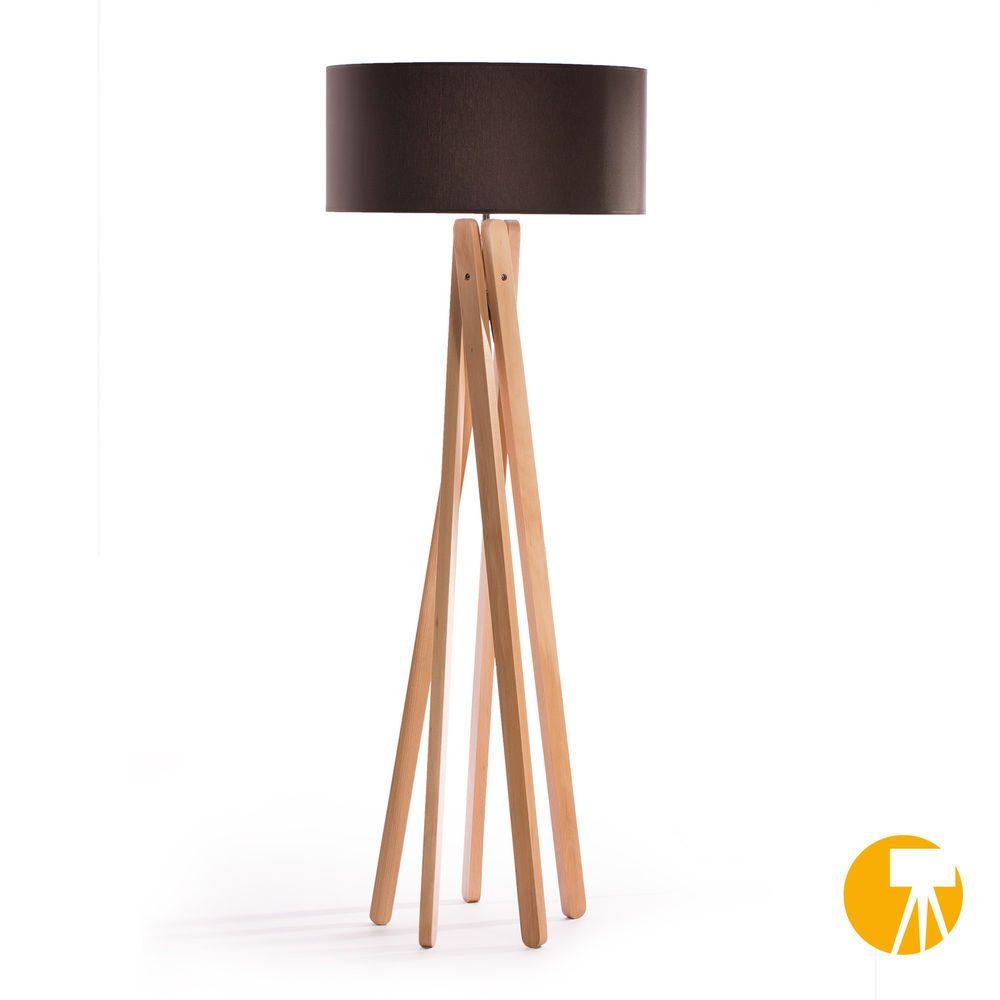 Inspirational Details zu Tripod Stehleuchte Anthrazit Buche Holz Stativ Design Stehlampe Leuchte H udcm