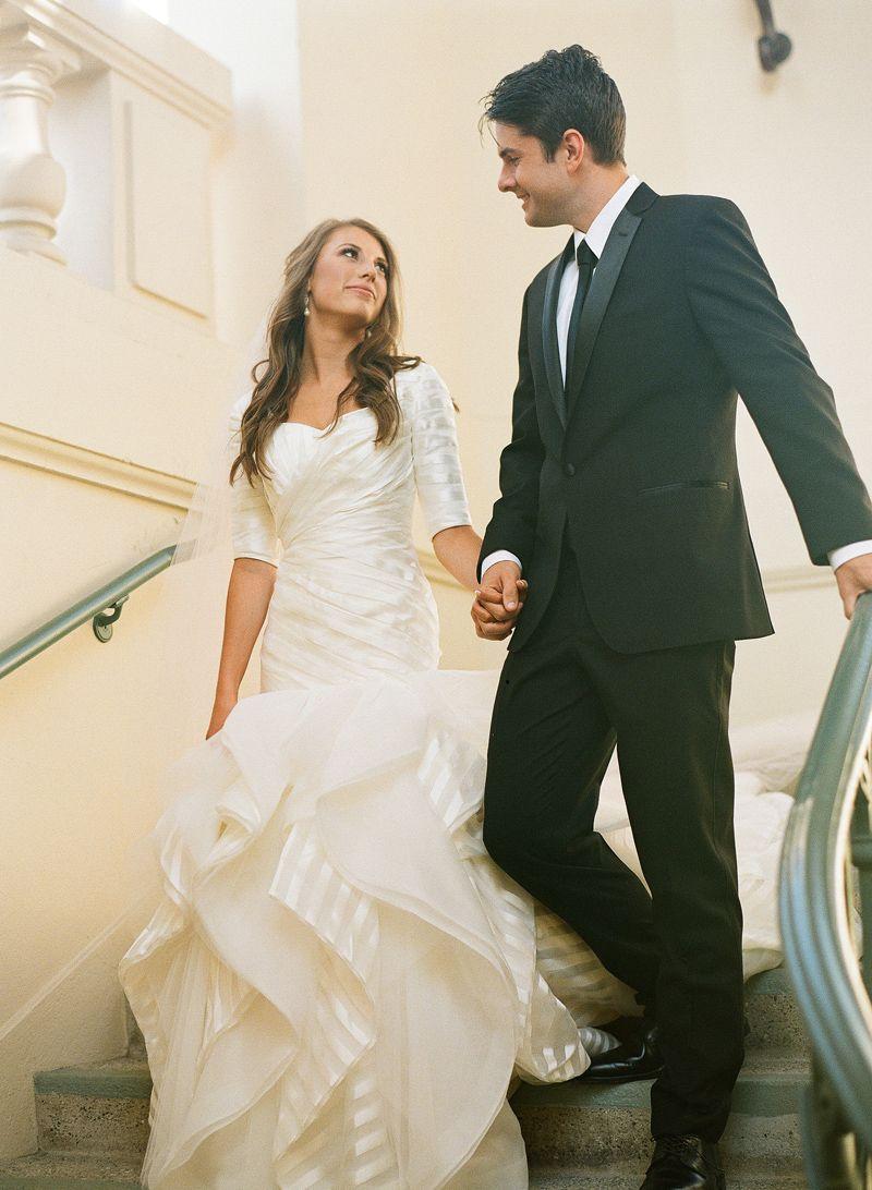 Cece wedding dress  modest wedding dress with elbow sleeves from alta moda  modest