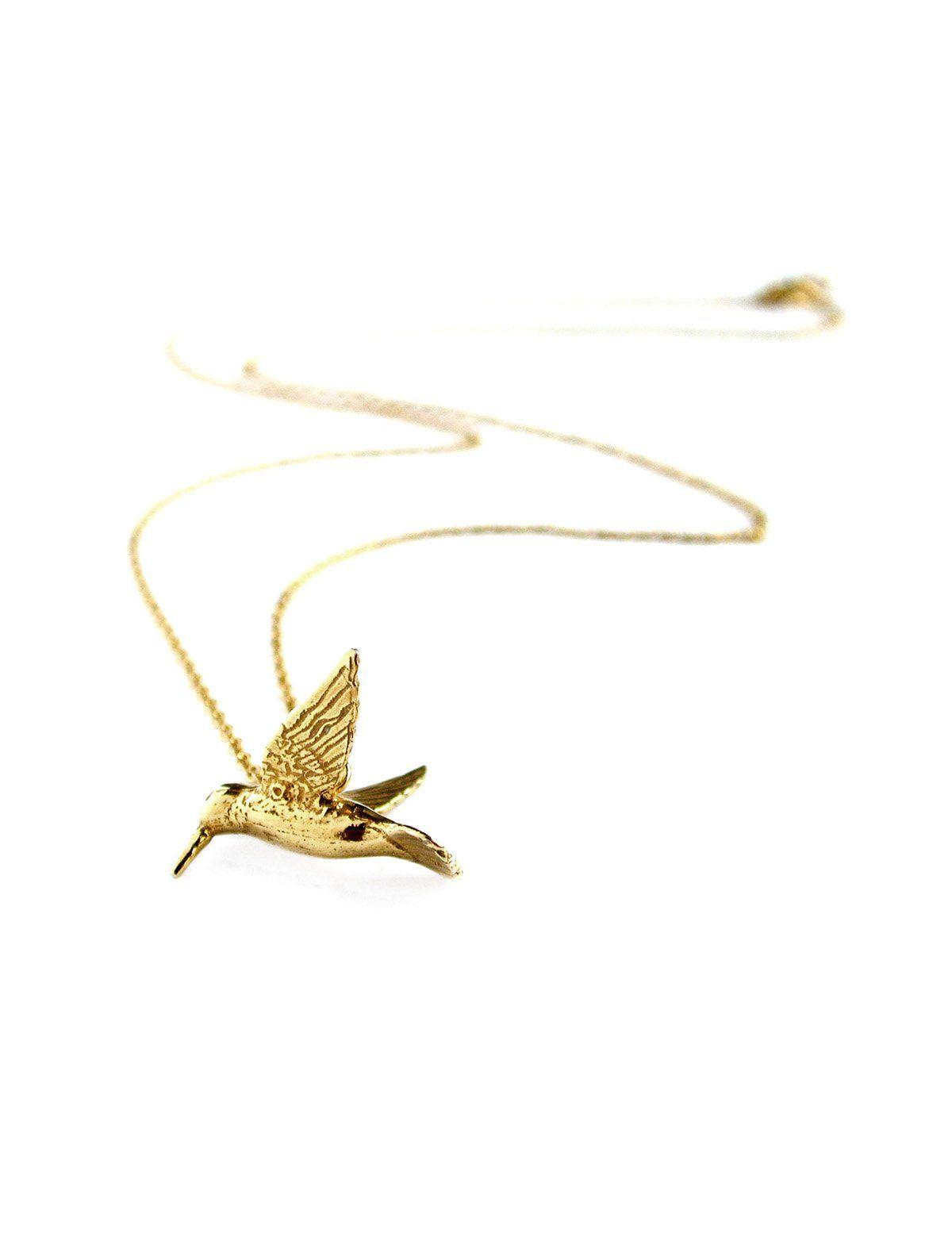 Alex Monroe Hummingbird Necklace - Gold - KJs Laundry
