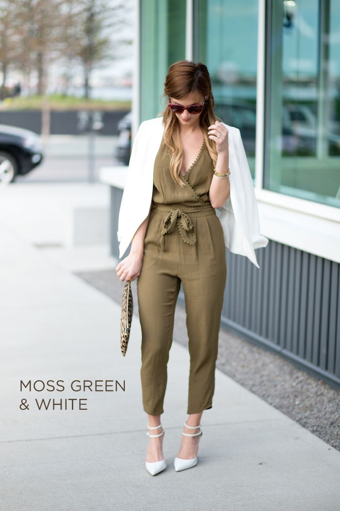 Moss Green and White Jumpsuit | Fashion | Pinterest | Boston style ...