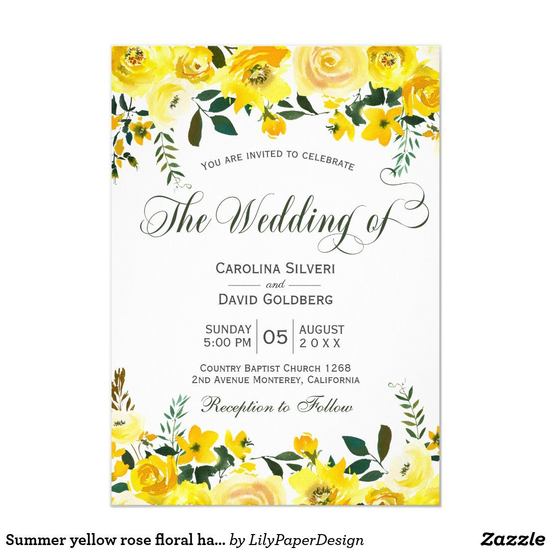 Summer Yellow Rose Floral Hand Lettered Wedding Invitation Zazzle Com In 2020 Hand Lettered Wedding Invitations Hand Lettered Wedding Yellow Wedding Invitations