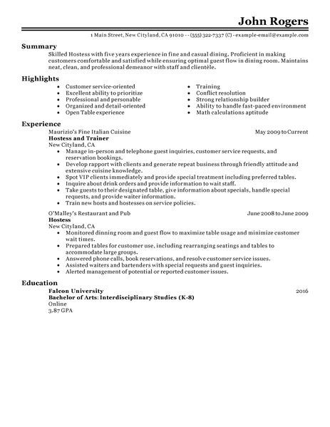 Restaurant Resume Sample Host Hostess Resume Example Restaurant Amp Bar Sample Resumes