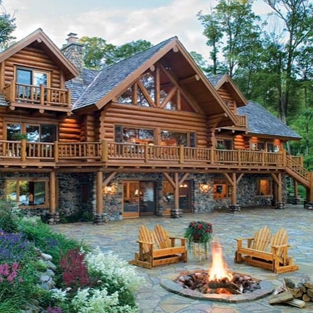 Three story log home logcabin home country rustic for Three story log cabin
