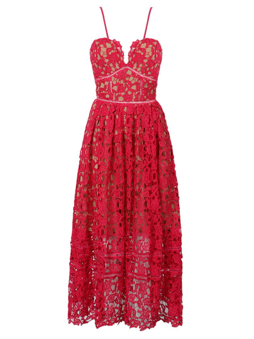 cd95e7968 Red Spaghetti Strap Crochet Lace Midi Dress for Hope Raley Penns ...