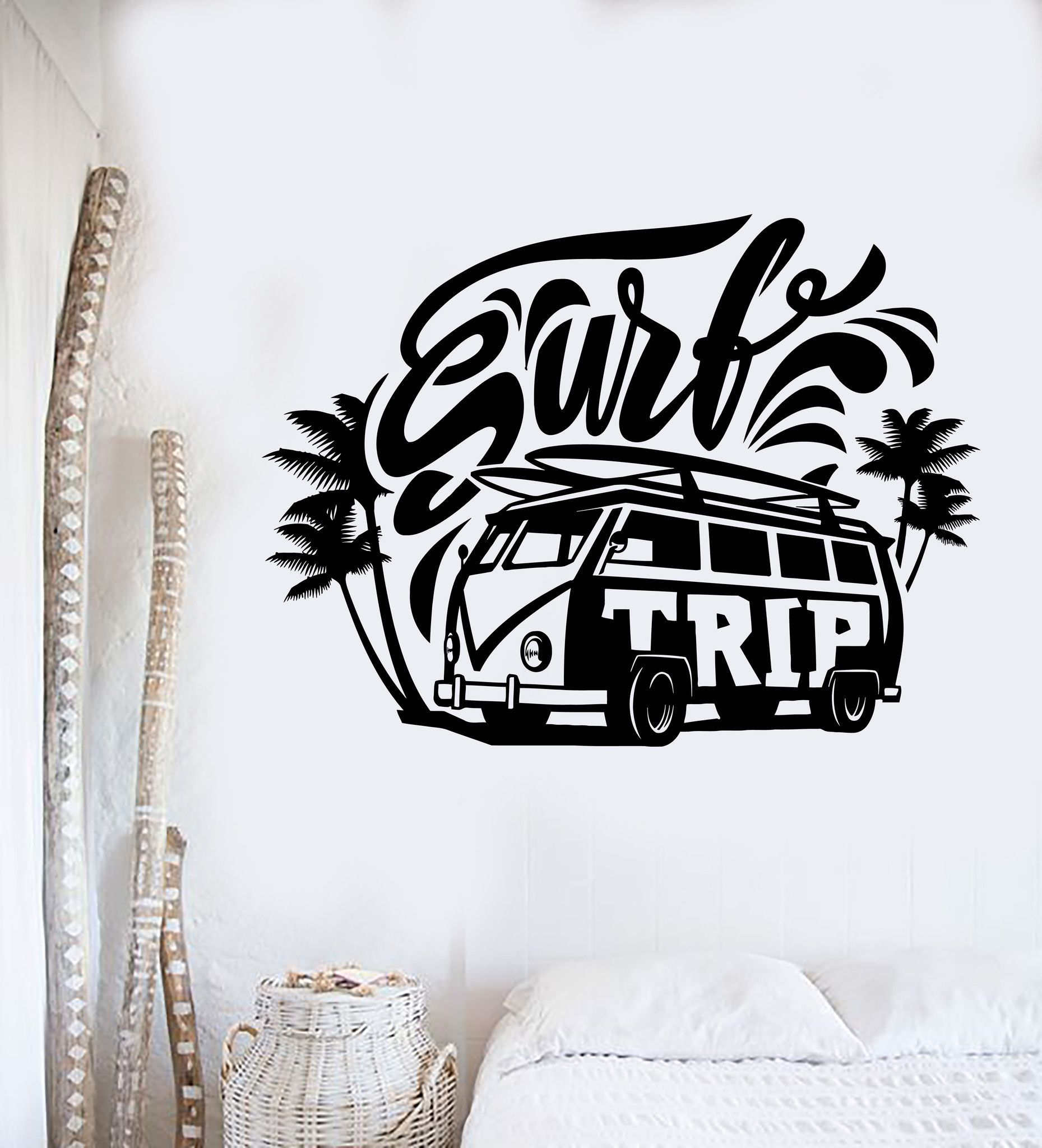Vinyl wall decal surf trip hippie car surfing relax stickers mural ig4320