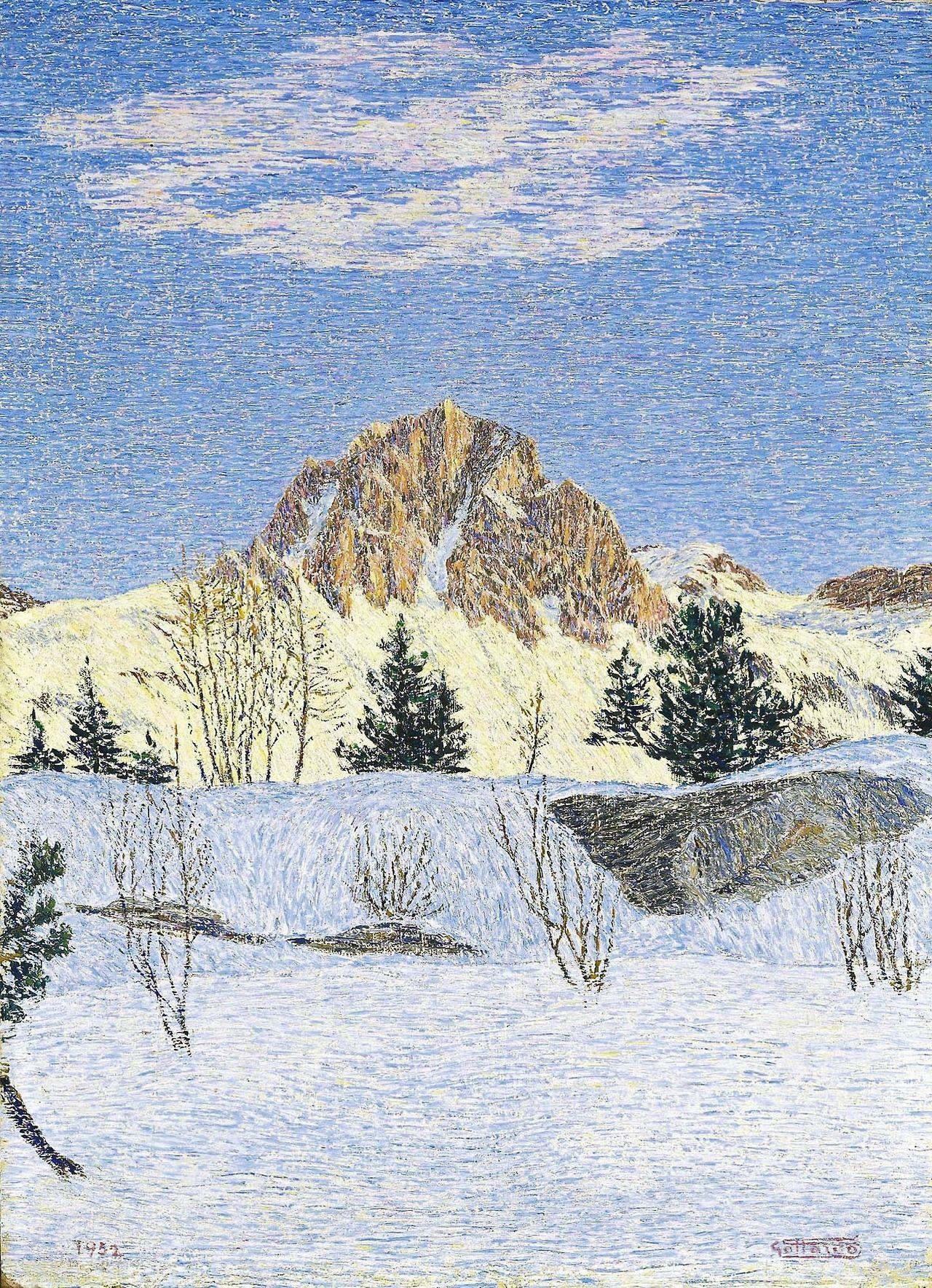 Gottardo Segantini (Swiss, 1882-1974), Winter landscape, 1952. Oil on board, 58.5 x 42.5 cm.