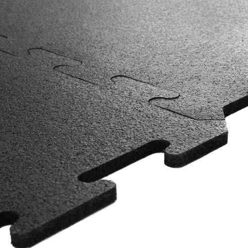 Interlocking Rubber Tile 2x2 Ft x 8 mm Black interlocking tiles