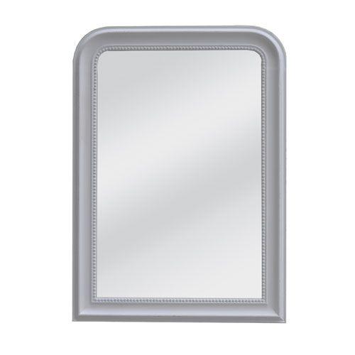 Miroir en bois bord perle patiné style ancien blanc cassé
