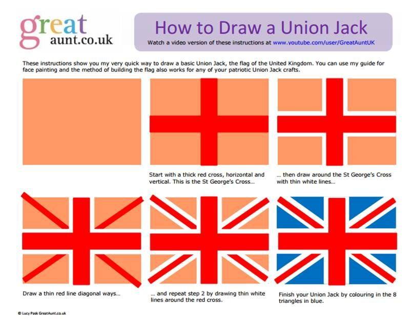 How To Draw A Union Jack Facepainting Instructions British Decor