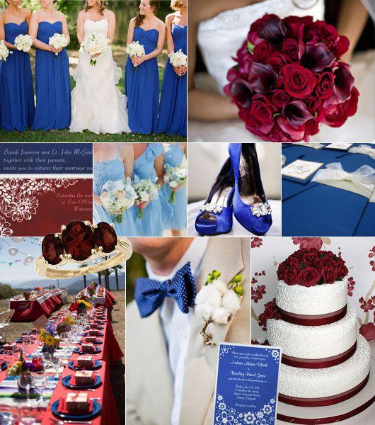 June Wedding Ideas: Kungsblått-vinrött Färgtema På Bröllop Royal Blue-burgundy