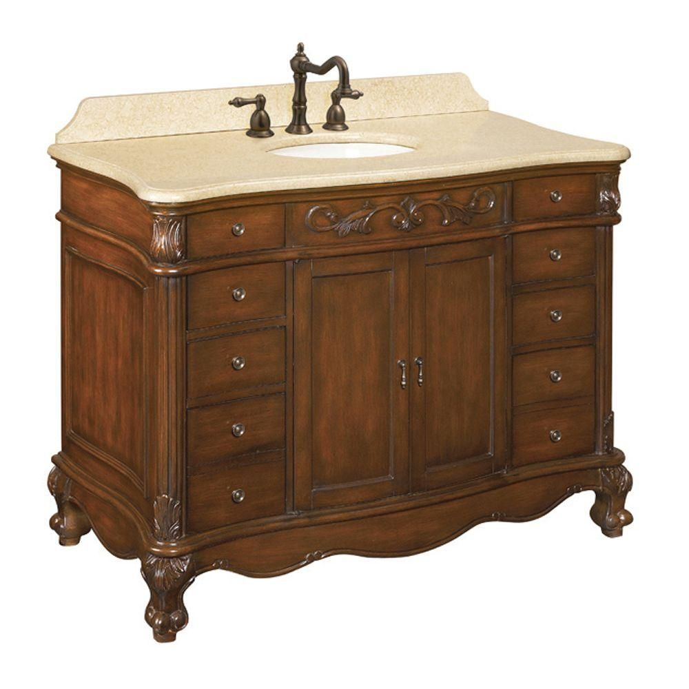 World Imports Belle Foret 48 In Vanity In Dark Cherry With Marble