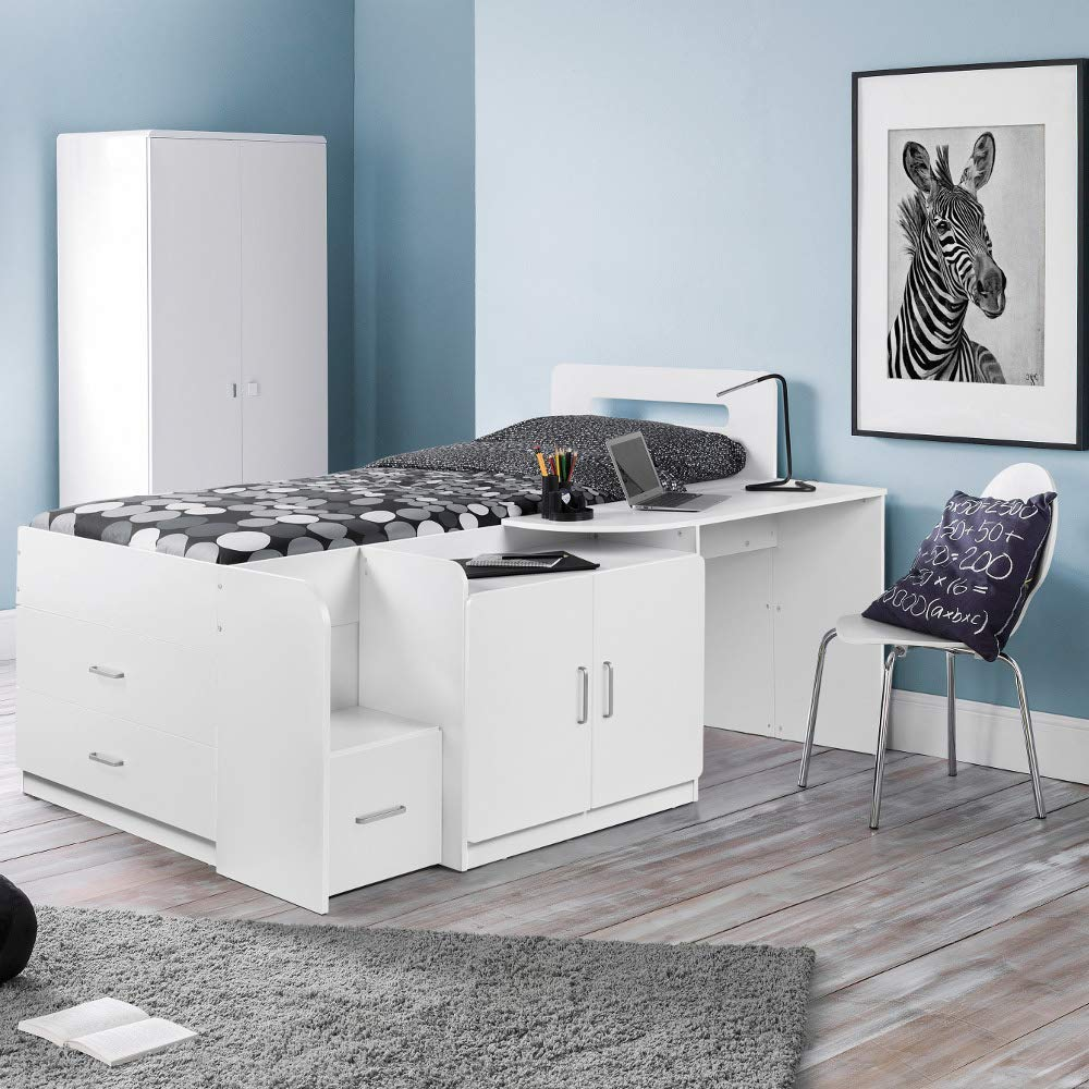 Mid Sleeper With Storage Happy Beds Cookie White Charcoal