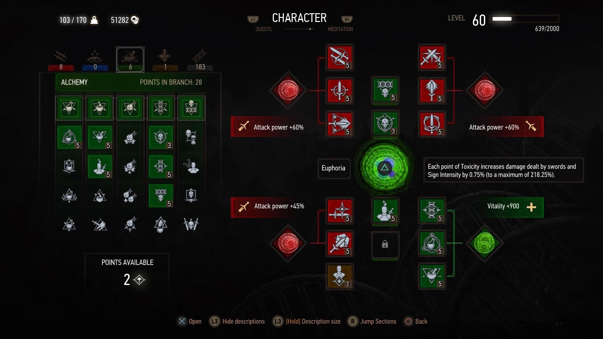 Which of the three would be a better choice for this build; Hunters Instinct Killing Spree or Undying? And if so which one of these abilities should I deactivate in order to make room? Thanks guys. I finally figured out how to get a screenshot from the PS4 and upload it to Reddit #TheWitcher3 #PS4 #WILDHUNT #PS4share #games #gaming #TheWitcher #TheWitcher3WildHunt