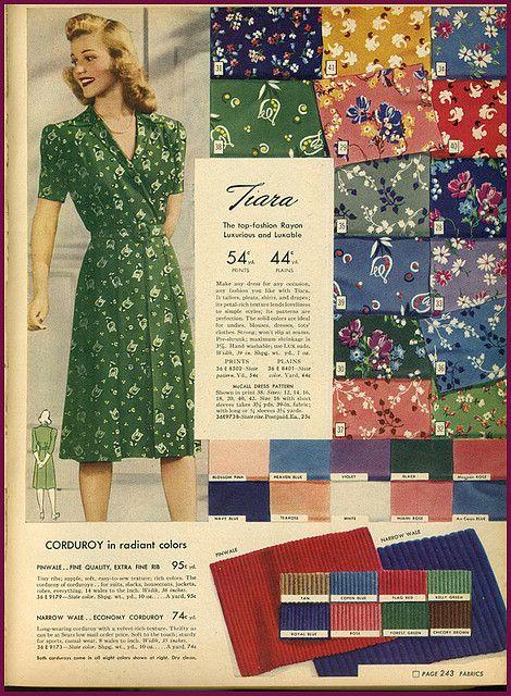 40s Fabrics Vintage Fashion Floral Print Green Dress Day Wear Casual War Era Wwii Color Photo Illustratio Vintage Sewing Patterns 1940s Fashion Vintage Dresses