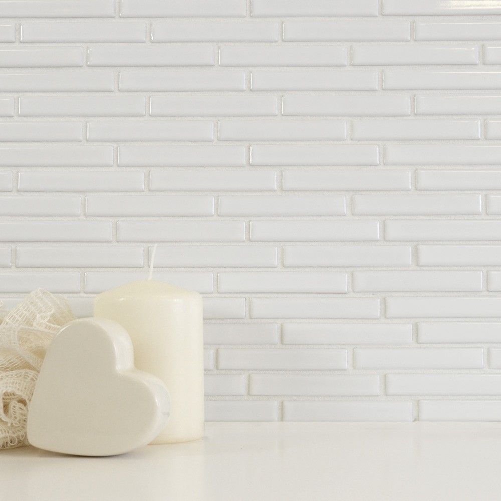 Gloss White Long Brick Mosaic Tiles Tiles | Extension | Pinterest ...