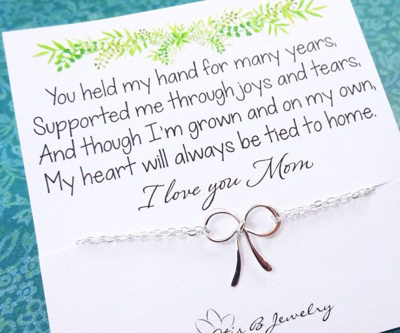 Gifts For Mom Mother Of The Bride Gift Silver Bow Bracelet With