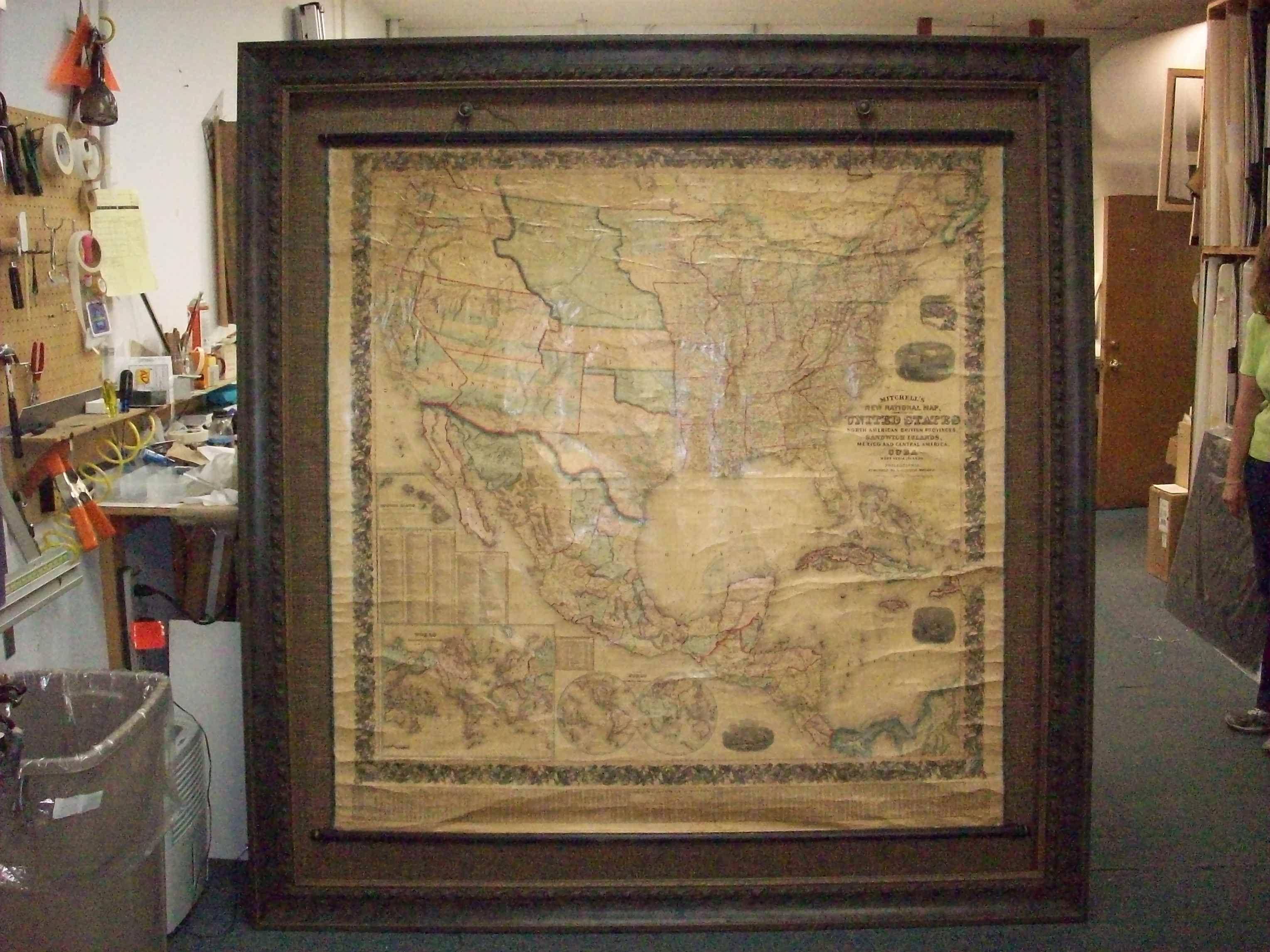 Gigantic Framed Antique US Wall Map Inspirational Framing - Framed us wall map