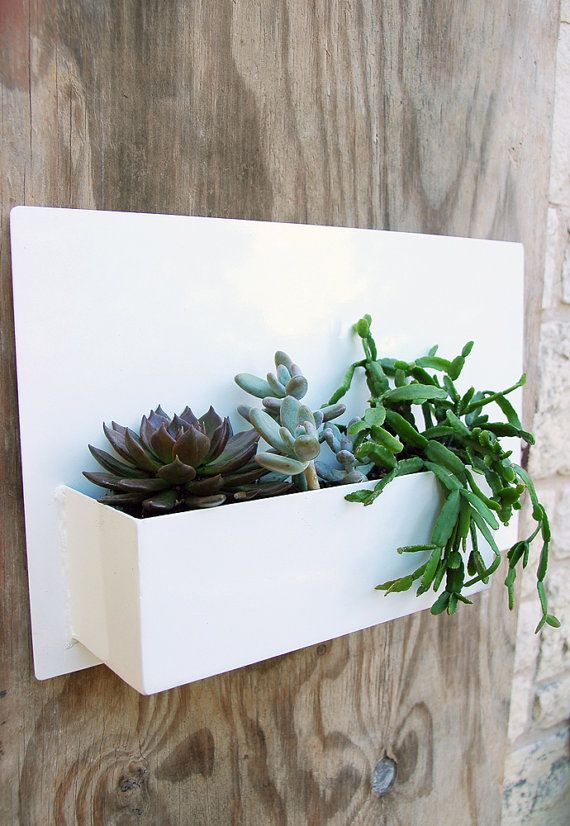 12 X 20 Modern White Metal Wall Planter With A By Urbanmettle