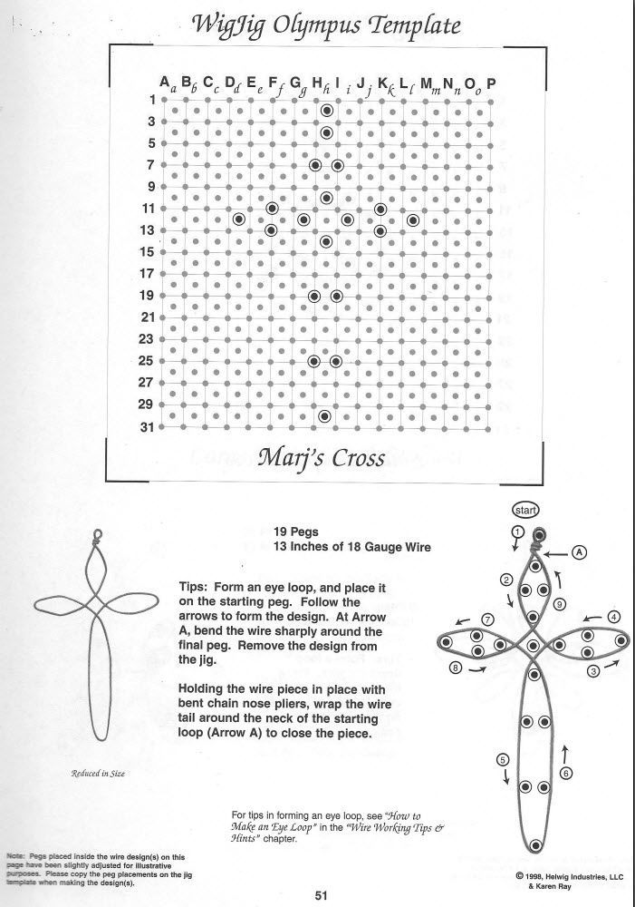 Wig jig pattern for wire cross. | DIY WIRE FOR GLASS JEWELLERY ...