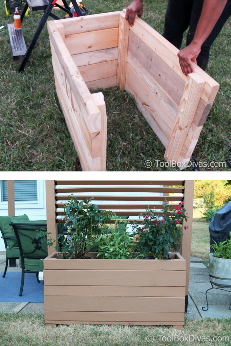 How To Build A Large Planter Box Using Scrap Wood Toolbox Divas Diy Planters Outdoor Diy Outdoor Planter Boxes Large Planter Boxes