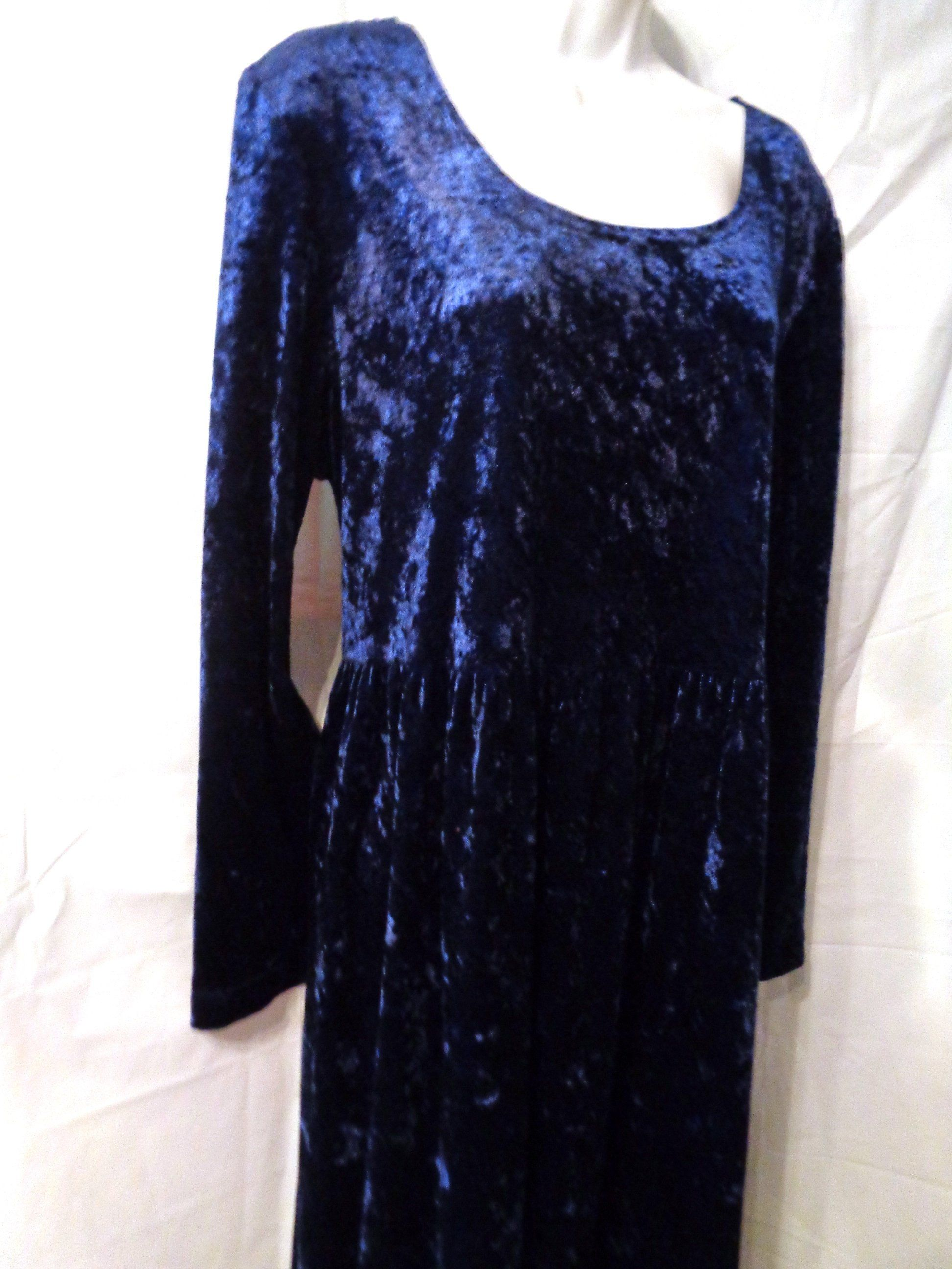 Vintage sz crushed velvet blue maxi dress all that jazz maxi