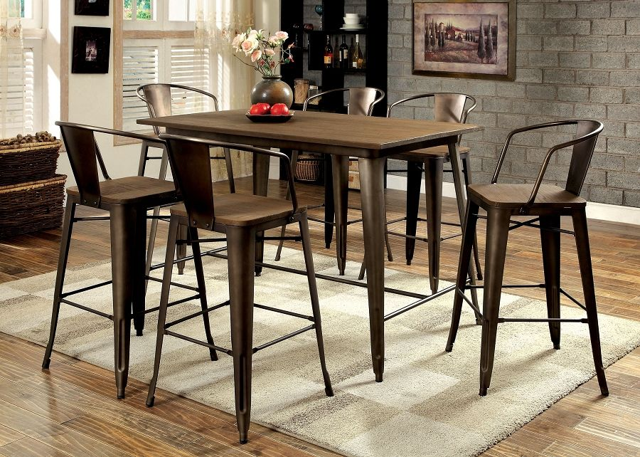 cooper industrial inspired metal frame counter height dining table