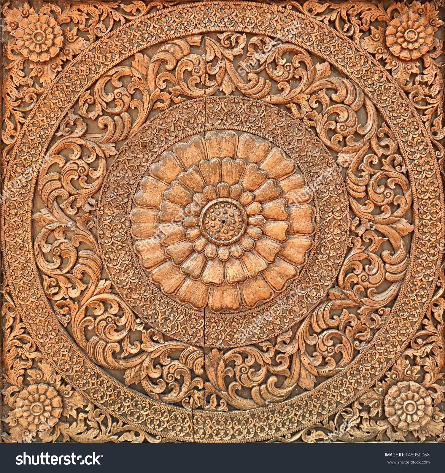 Wood Carving Designs Flowers Stock Photos Images Pictures Shutterstock