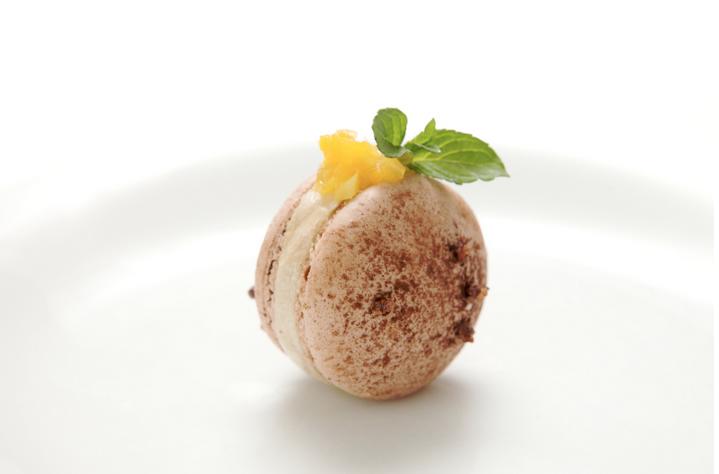 Savory Chocolate Macaron, Foie Gras Torchon, Cocoa Nibs, Valencia Orange Compote  https://chefsroll.com/PaulLarson