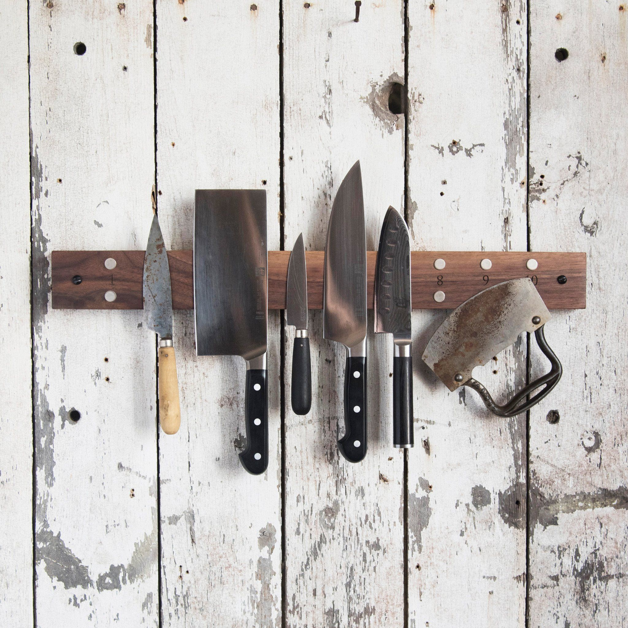 The Peg and Awl Knife Holder is a universal kitchen knife storage solution that will replace clunky knife blocks. Handmade from eco-friendly reclaimed wood.