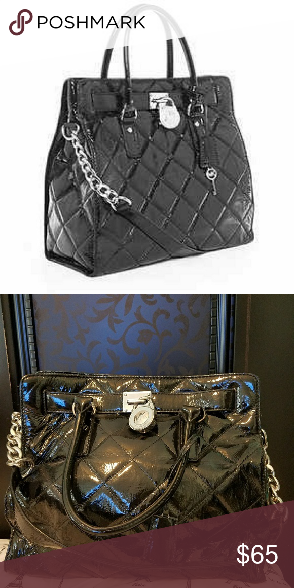 403c363421 Michael Kors Black Quilted Patent Leather Hamilton Preowned in Excellent  Condition! Michael Kors Large