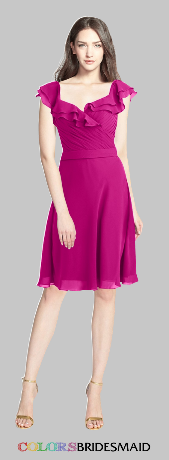 The short bridesmaid dress in hot pink color is custom made to all ...