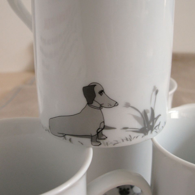 {cute doxie illustrated mug} sweet!