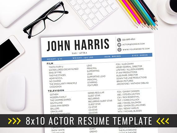 Actor Resume Template, Acting Resume Ideas, Creative Resume, Actor - film resume template