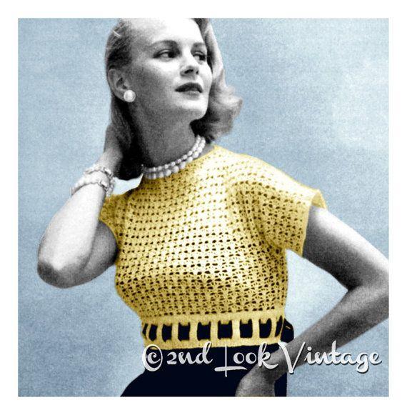 Vintage 1950s ganchillo patrón botón Back Bolero encaje cinta ...