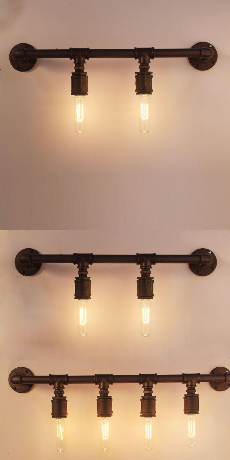Vintage Water Pipe Wall Lamp American Style Industrial Edison Lamps ...